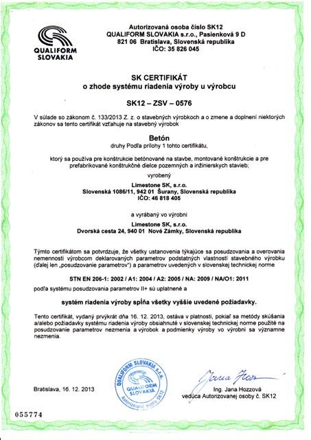 Certifikát - betón